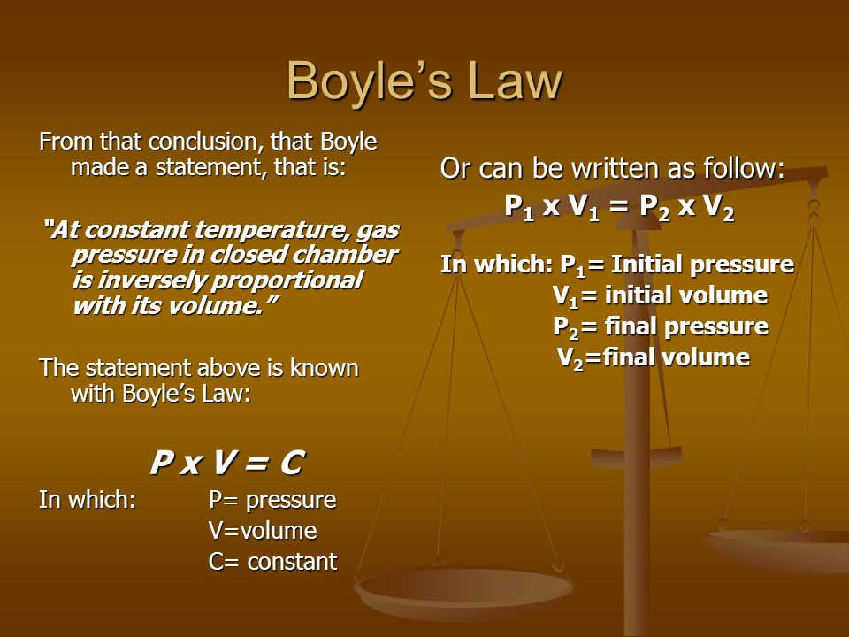 Boyle's Law P x V = C Or can be written as follow: P1 x V1 = P2 x V2