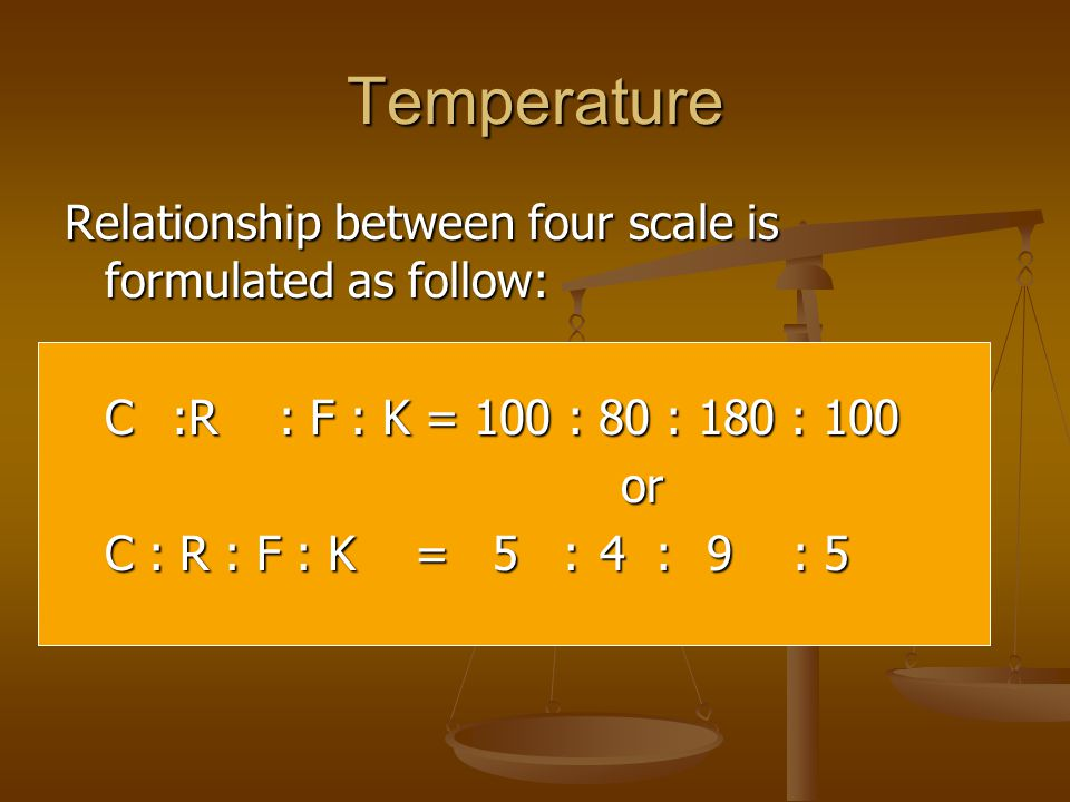 Temperature Relationship between four scale is formulated as follow: