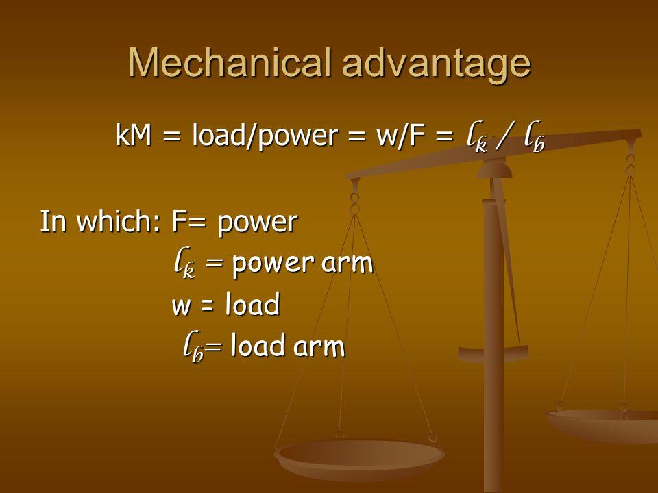 kM = load/power = w/F = lk / lb
