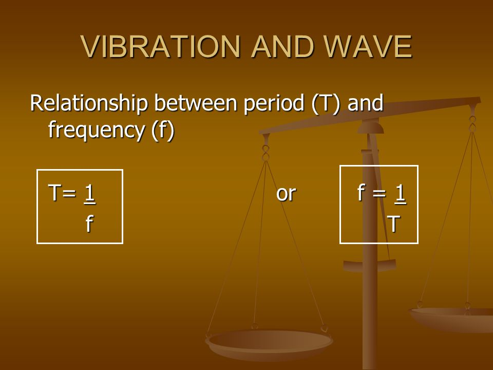 VIBRATION AND WAVE Relationship between period (T) and frequency (f)