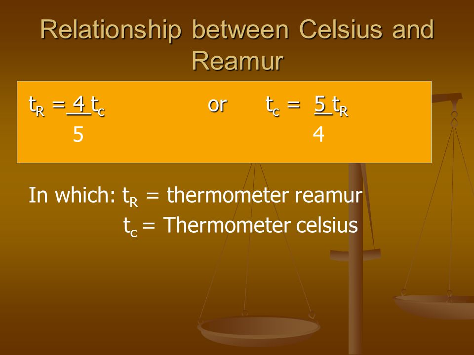 Relationship between Celsius and Reamur