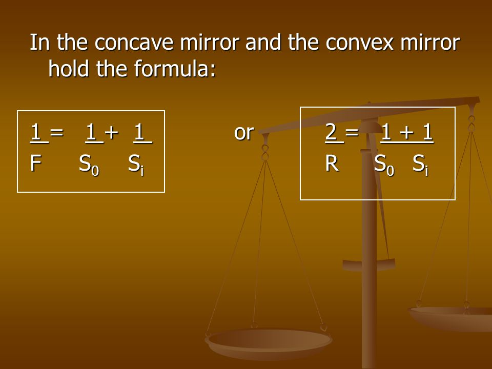 In the concave mirror and the convex mirror hold the formula: