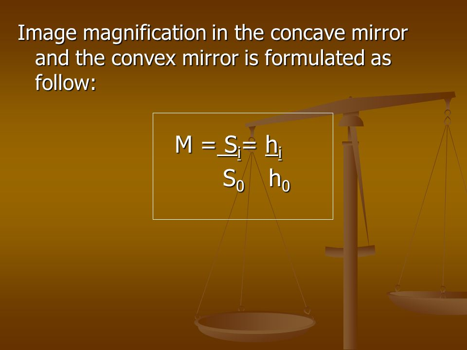 Image magnification in the concave mirror and the convex mirror is formulated as follow: