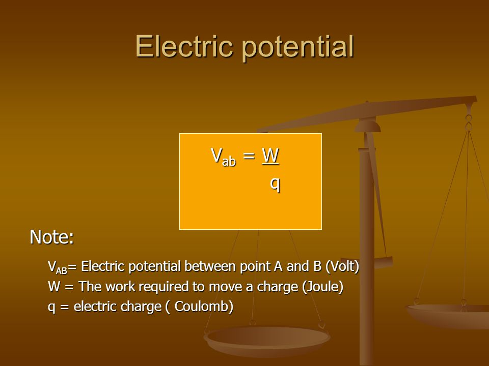 Electric potential Vab = W q Note: