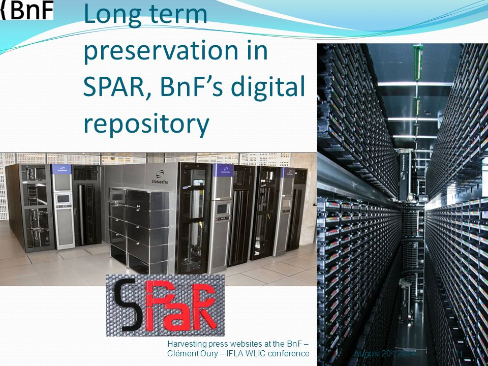 Long term preservation in SPAR, BnF's digital repository