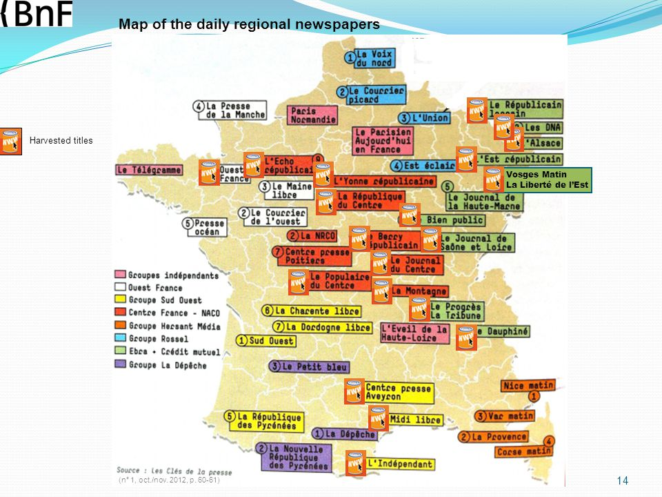 Map of the daily regional newspapers