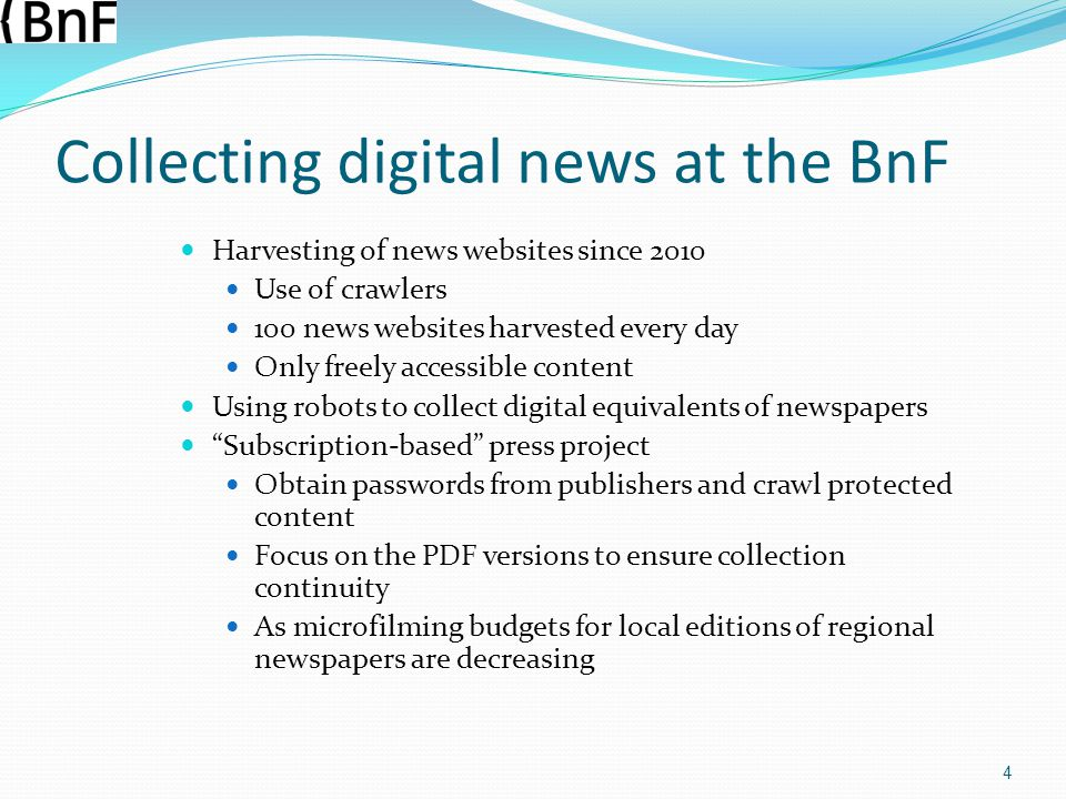 Collecting digital news at the BnF