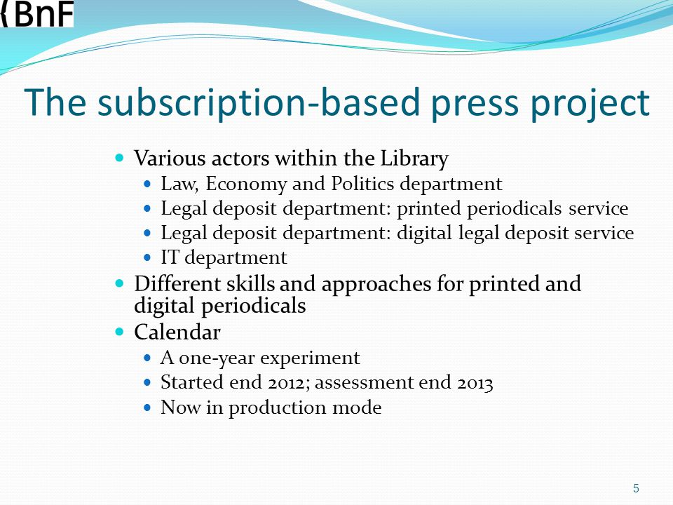 The subscription-based press project