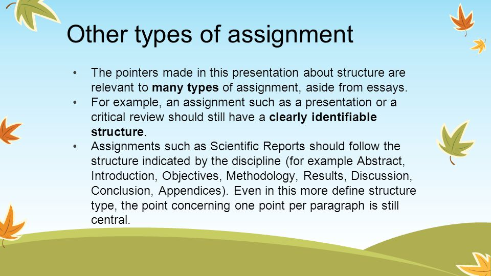 Other types of assignment