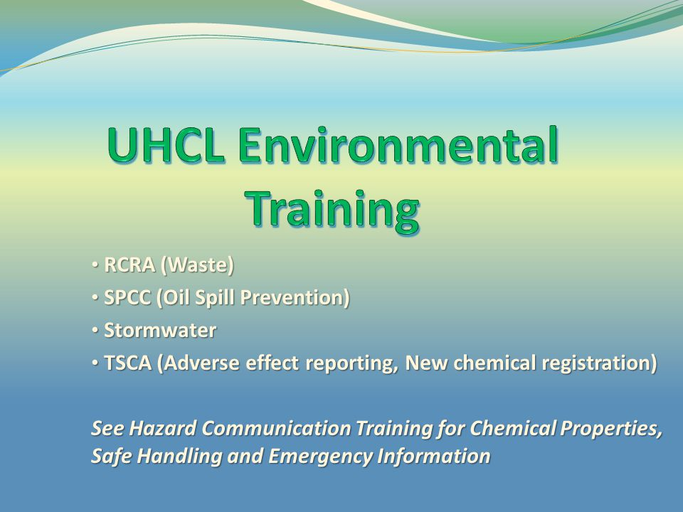 UHCL Environmental Training