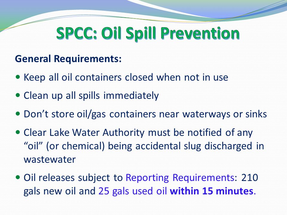 SPCC: Oil Spill Prevention