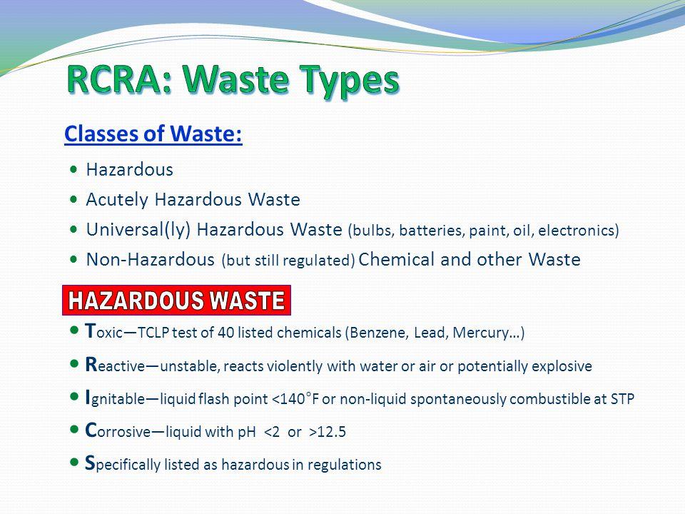 RCRA: Waste Types Classes of Waste: Hazardous Wastes