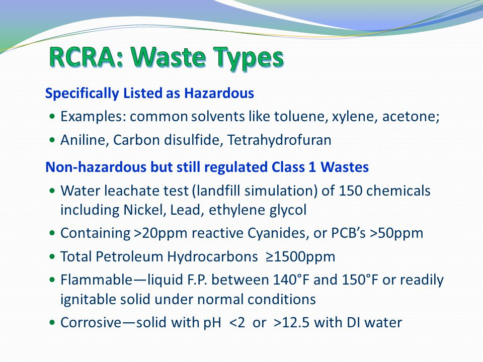 RCRA: Waste Types Specifically Listed as Hazardous