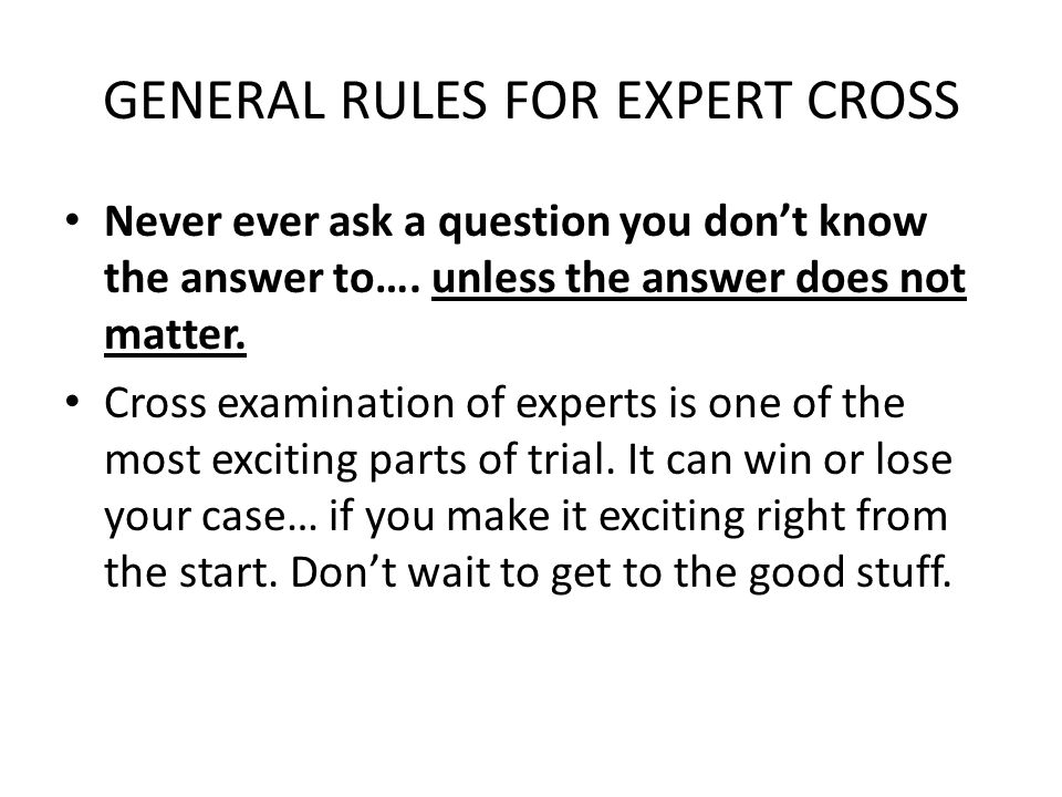GENERAL RULES FOR EXPERT CROSS