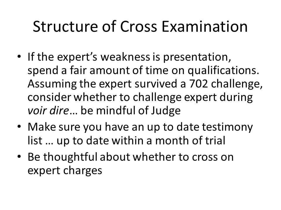 Structure of Cross Examination