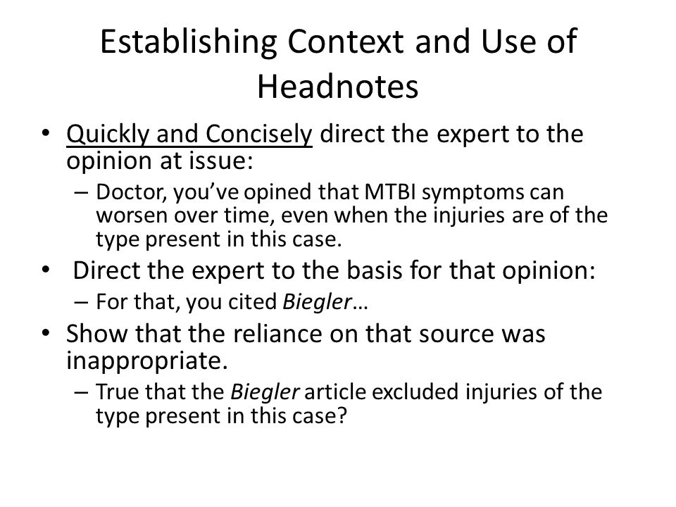 Establishing Context and Use of Headnotes