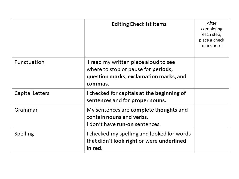 Editing Checklist Items