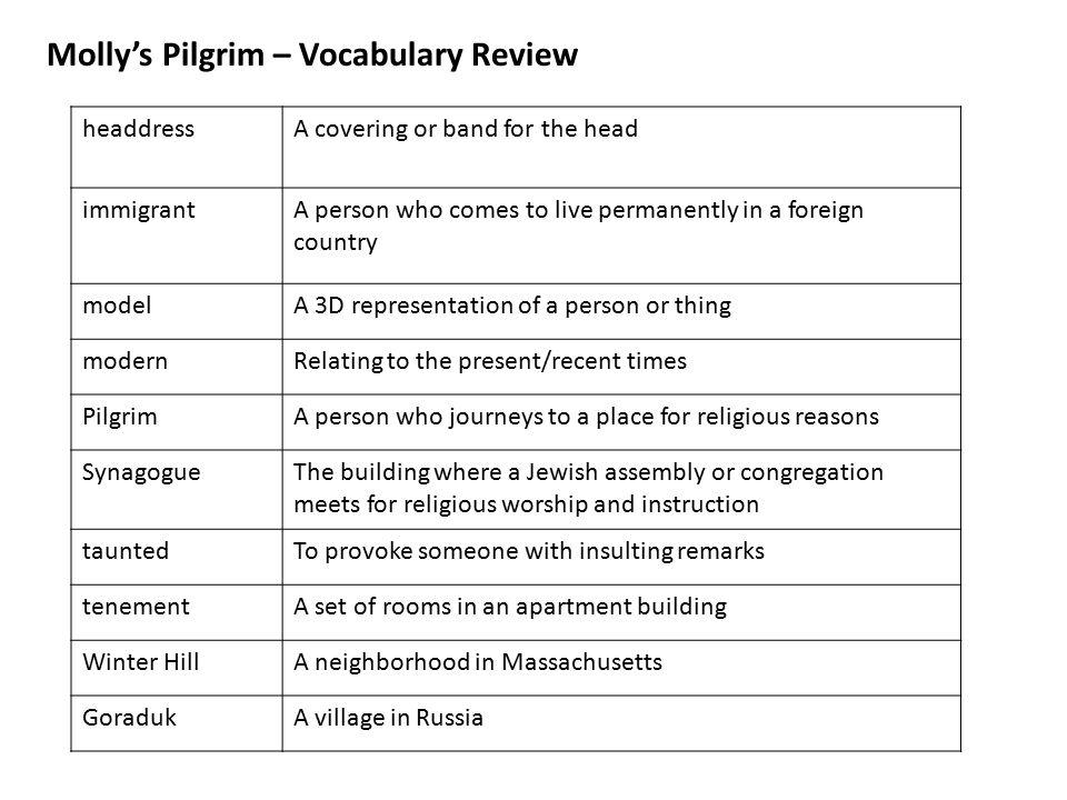 Molly's Pilgrim – Vocabulary Review