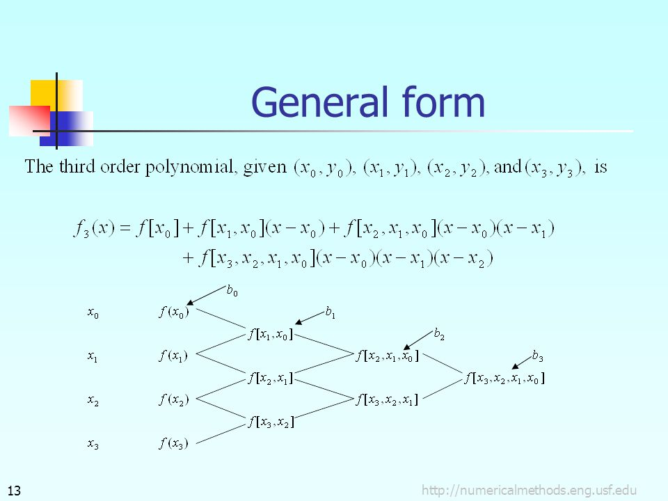 General form http://numericalmethods.eng.usf.edu