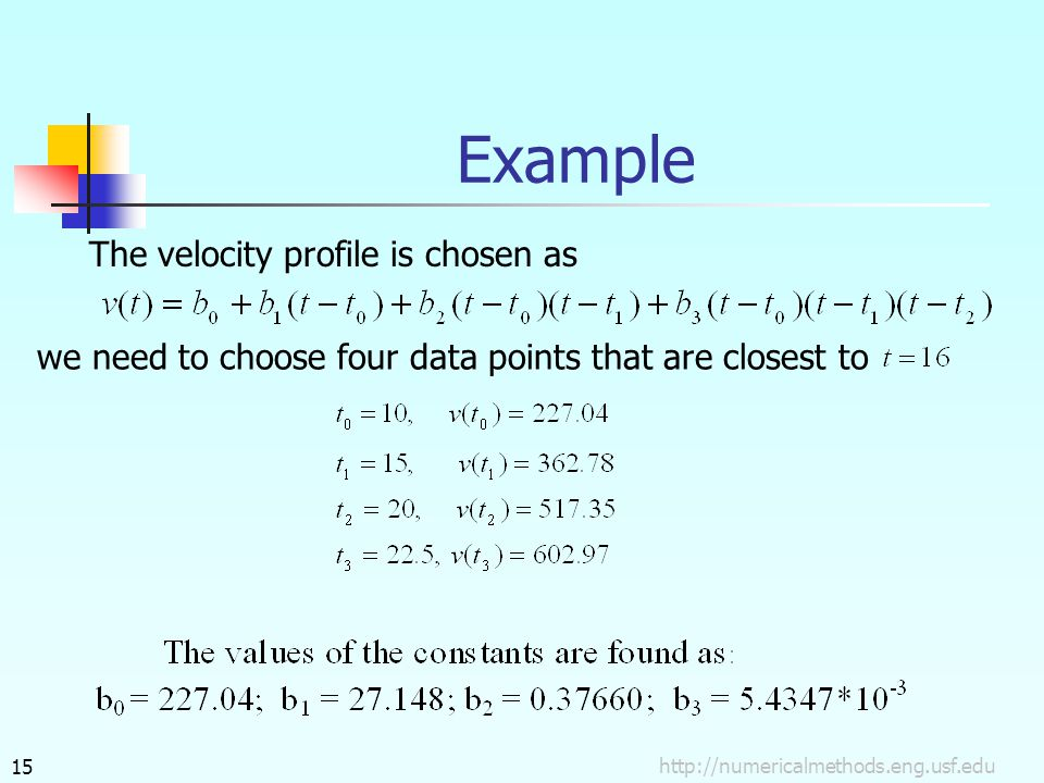 Example The velocity profile is chosen as