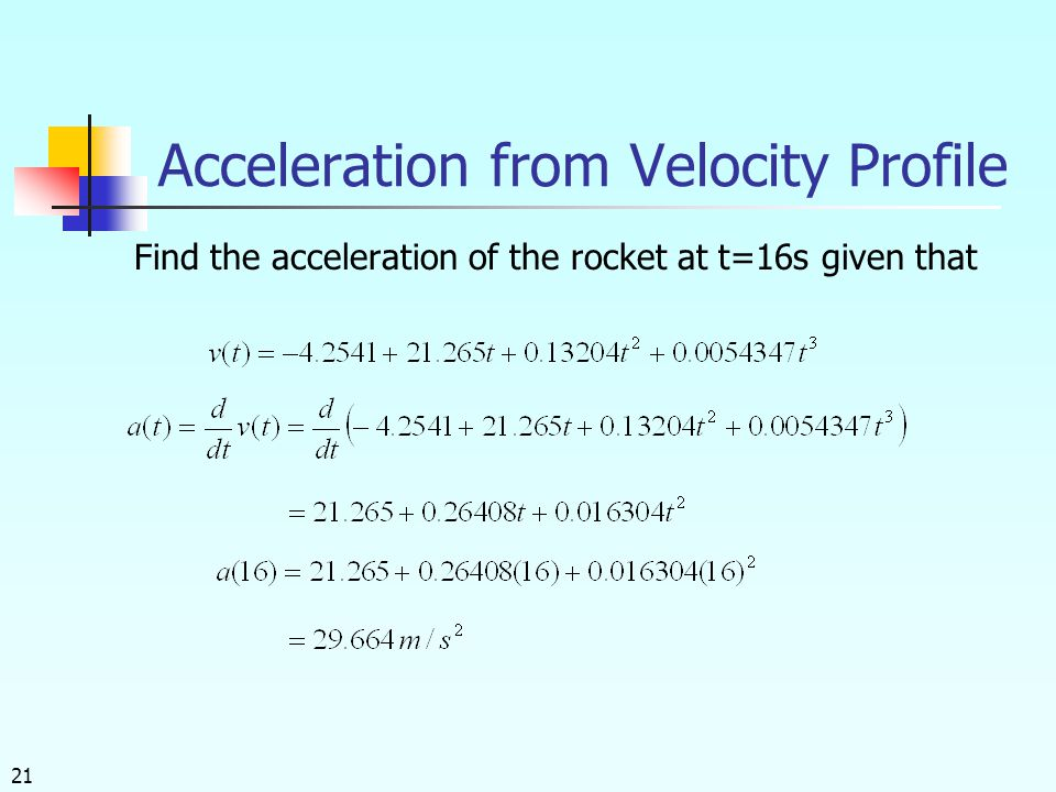 Acceleration from Velocity Profile