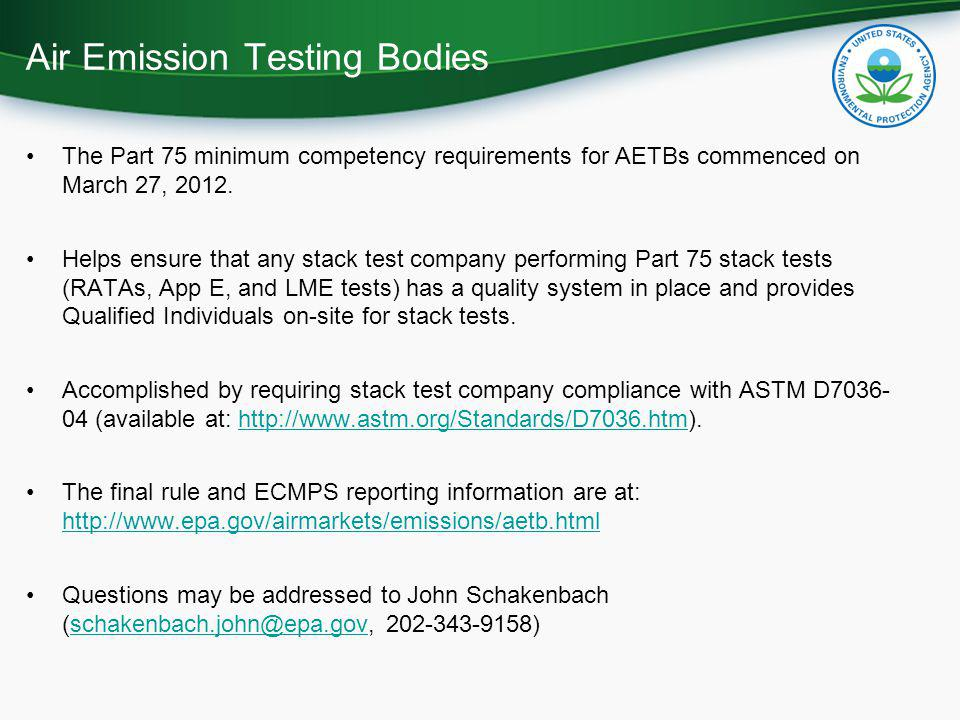 Air Emission Testing Bodies
