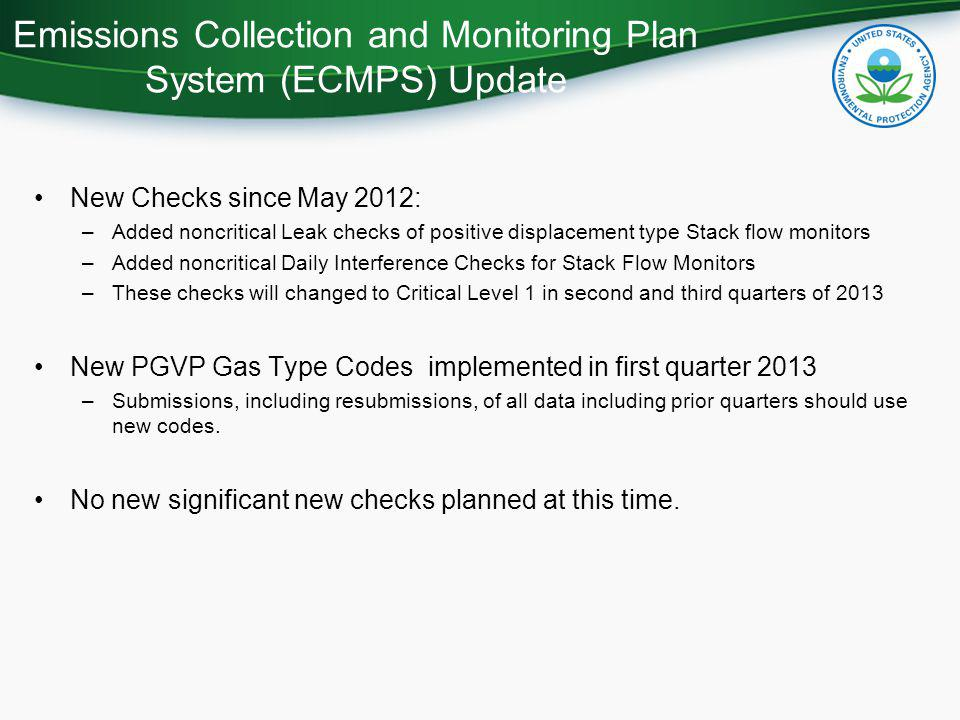 Emissions Collection and Monitoring Plan System (ECMPS) Update