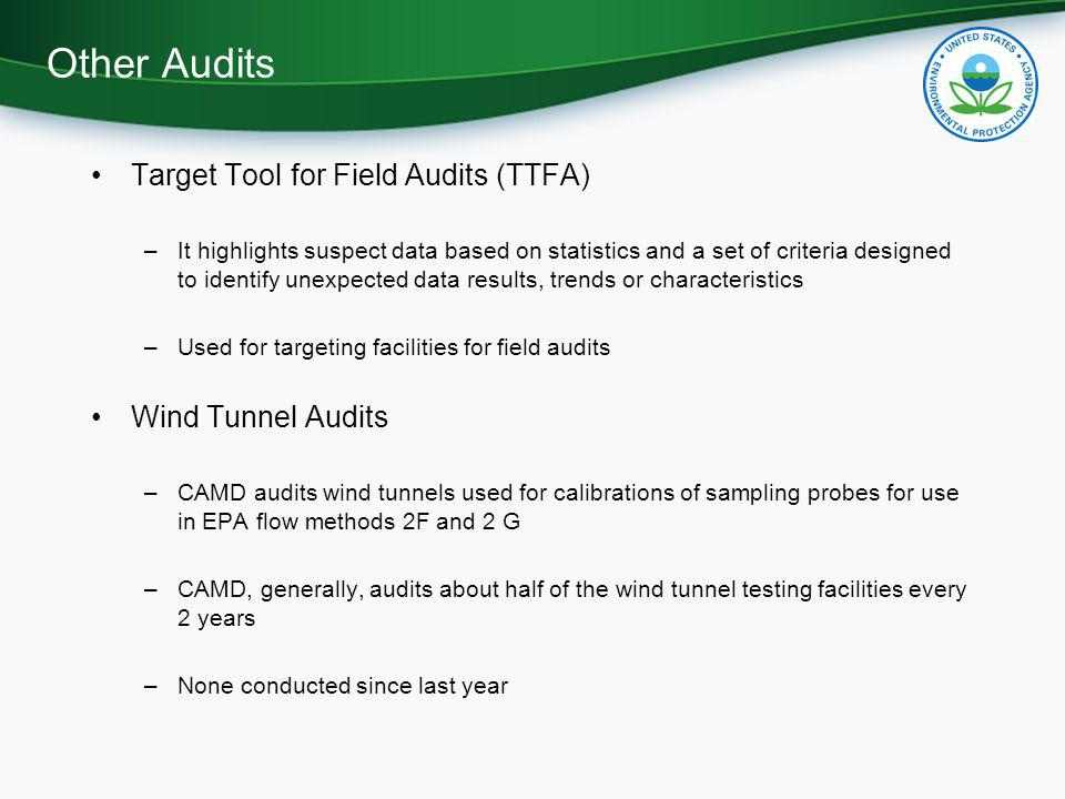 Other Audits Target Tool for Field Audits (TTFA) Wind Tunnel Audits