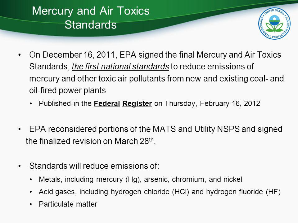 Mercury and Air Toxics Standards