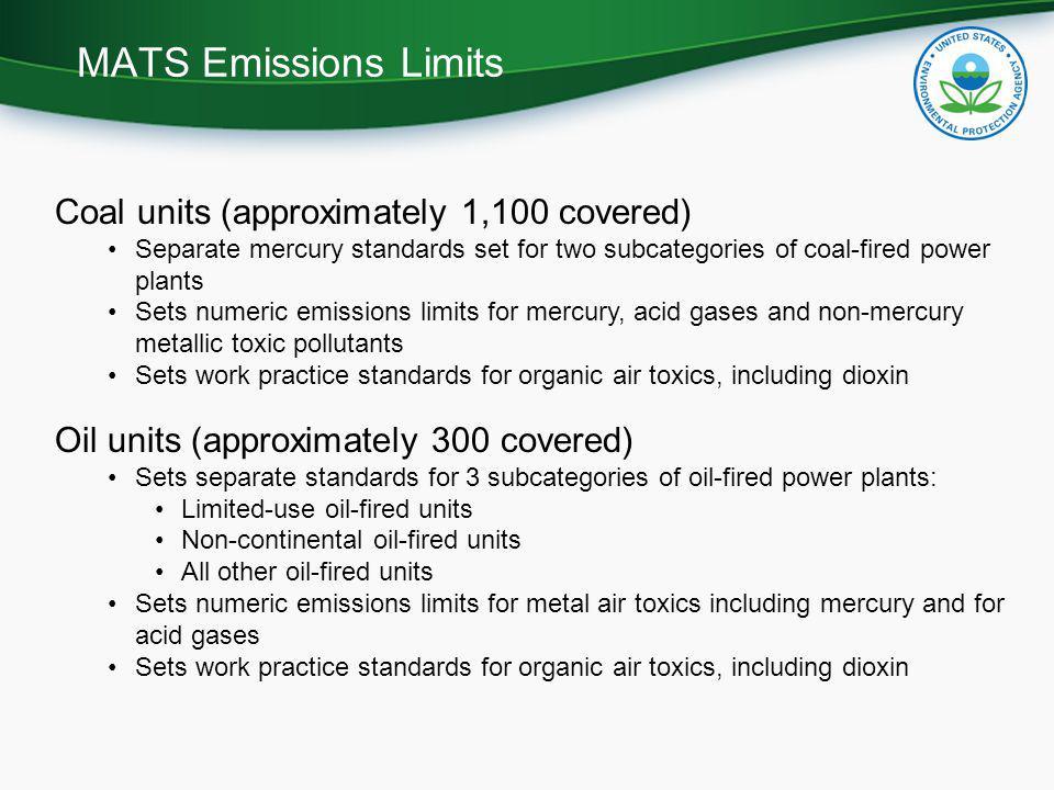 MATS Emissions Limits Coal units (approximately 1,100 covered)
