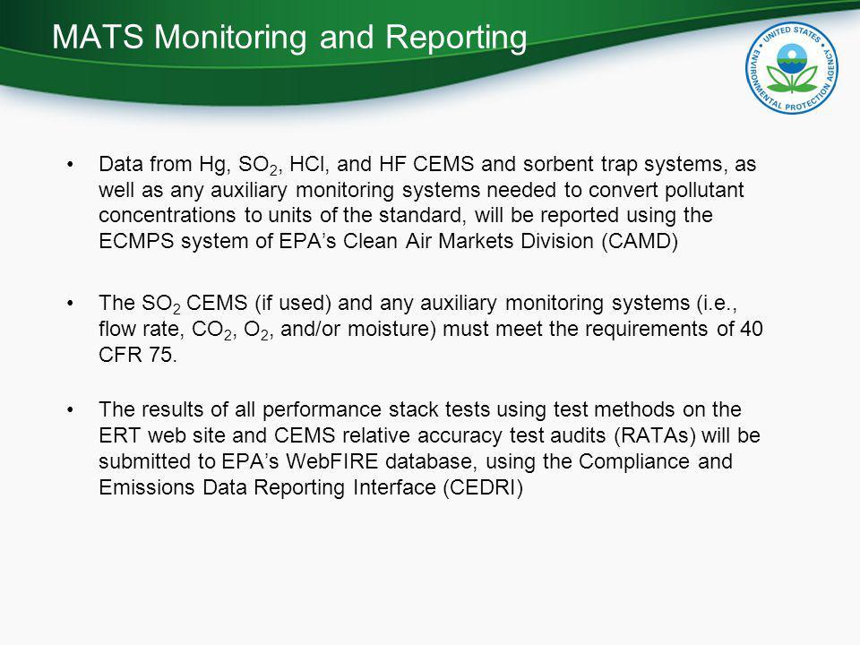 MATS Monitoring and Reporting