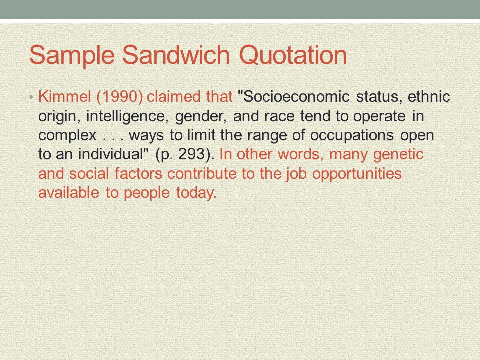 Sample Sandwich Quotation