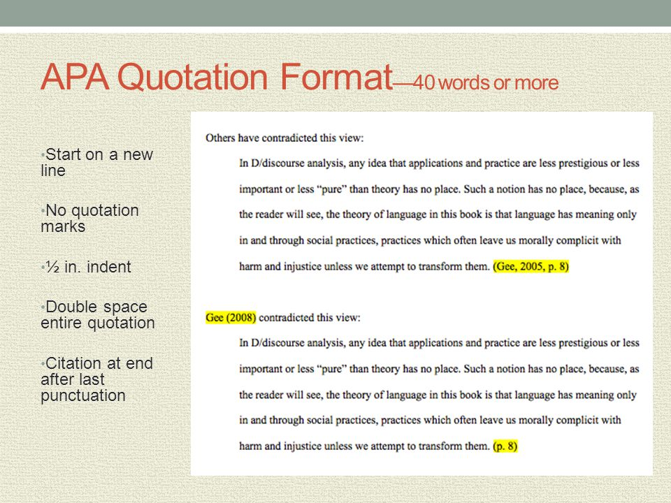APA Quotation Format—40 words or more