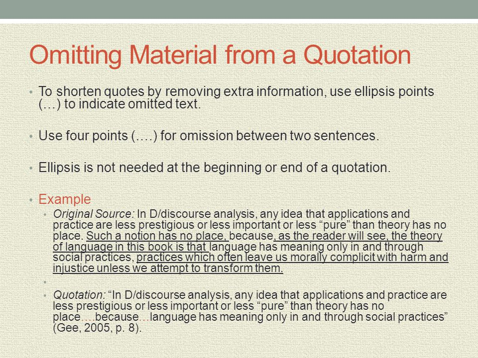 Omitting Material from a Quotation