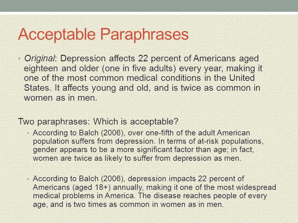 Acceptable Paraphrases