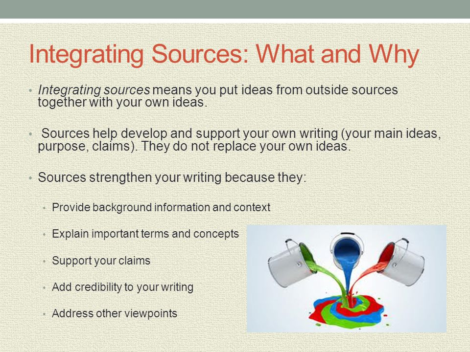 Integrating Sources: What and Why