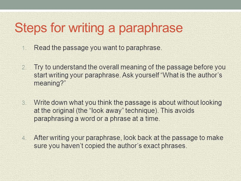 Steps for writing a paraphrase