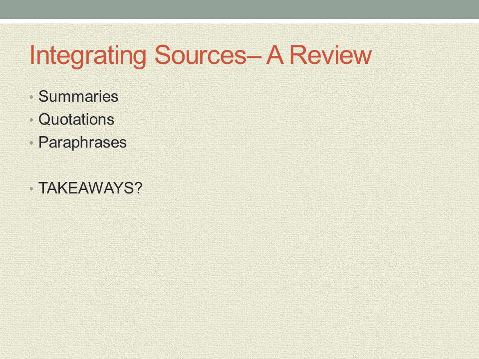 Integrating Sources– A Review