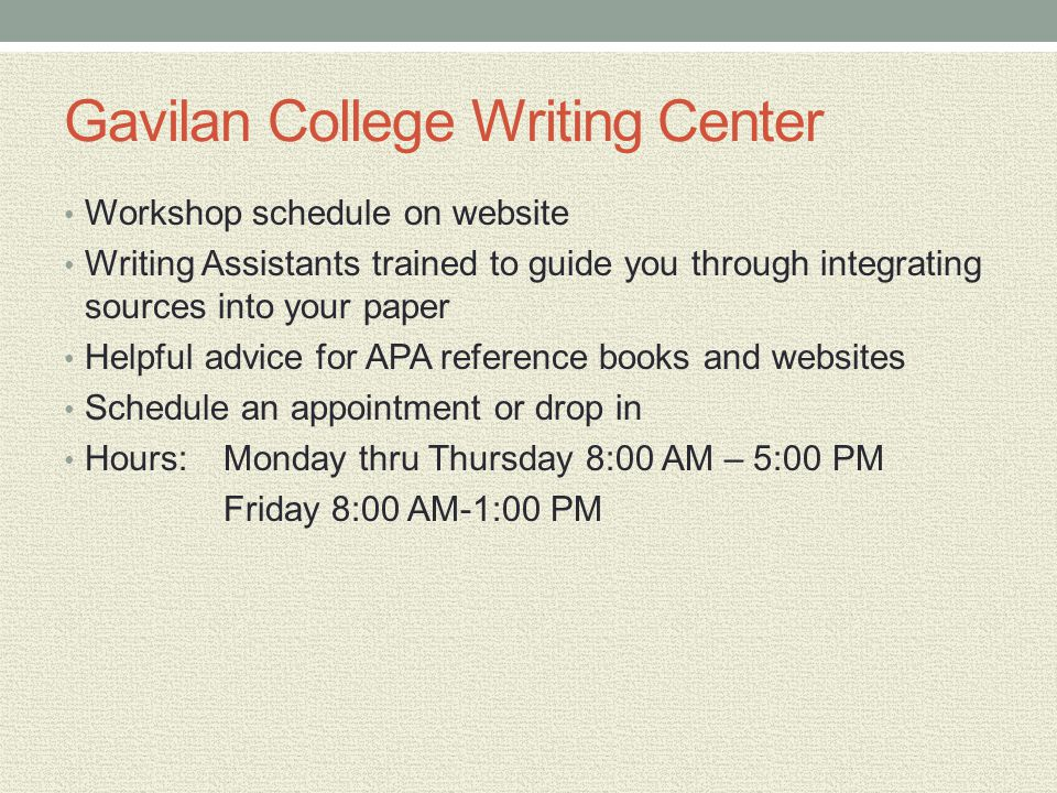 Gavilan College Writing Center