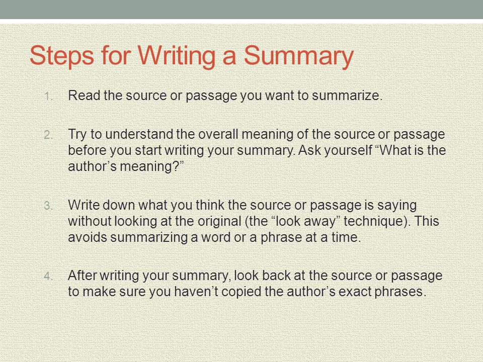 Steps for Writing a Summary