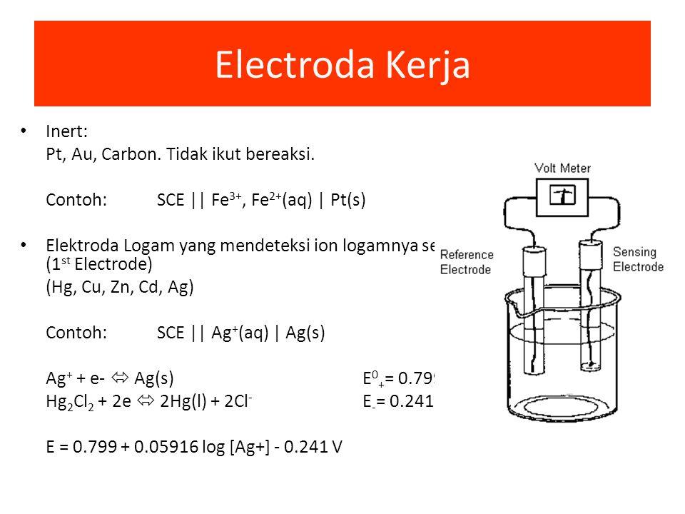Electroda Kerja Inert: Pt, Au, Carbon. Tidak ikut bereaksi.