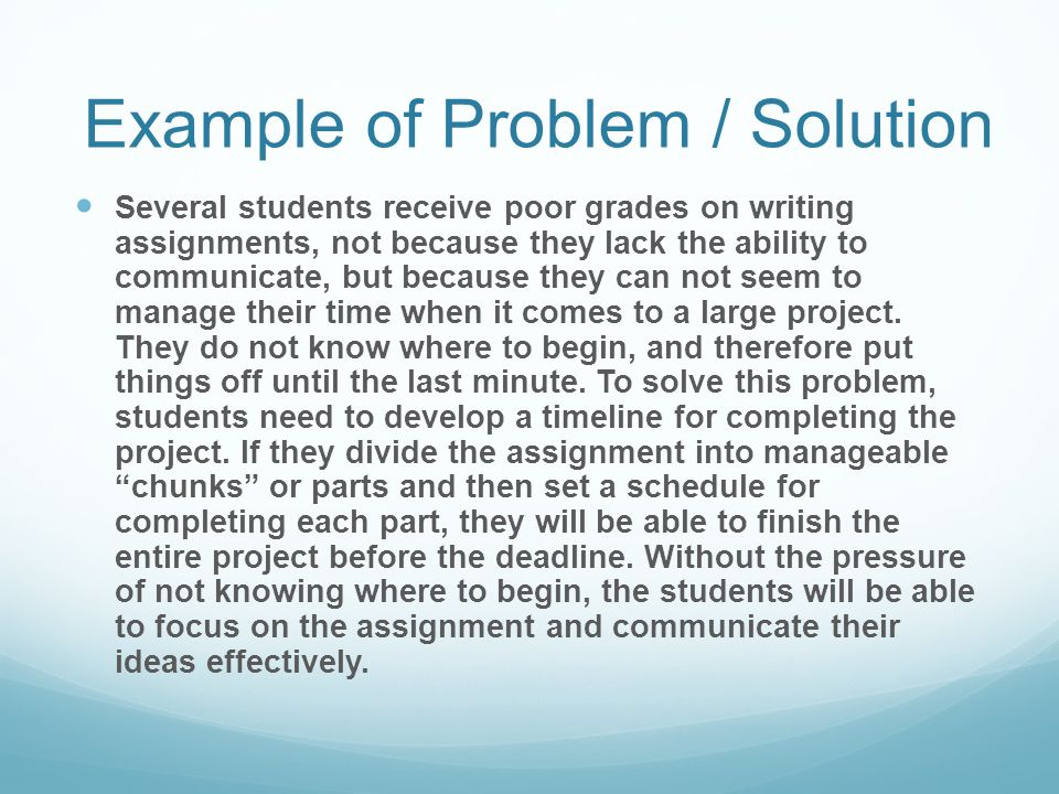 Example of Problem / Solution
