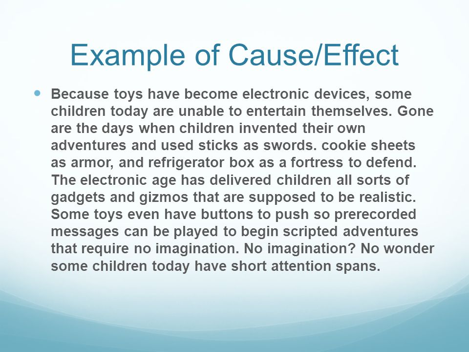 Example of Cause/Effect