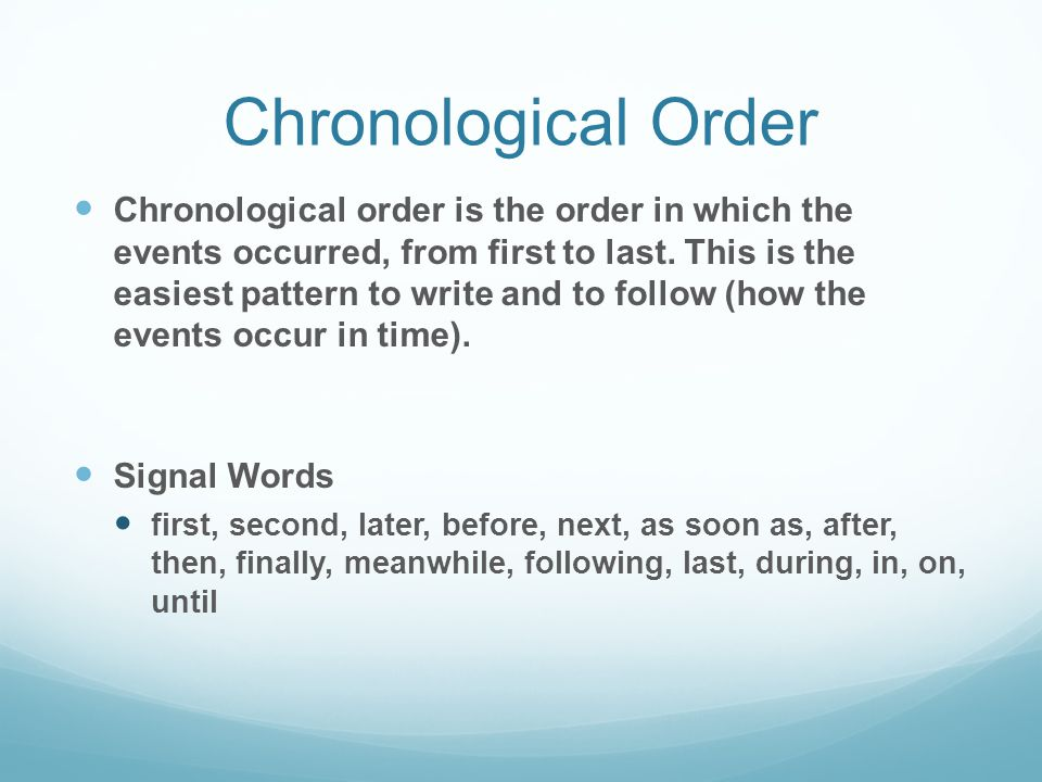 chronological order Your problem of not knowing the chronological order of the books of the bible is not unique none of us knows with certainty the order in which god's prophets and apostles wrote the books of the bible.