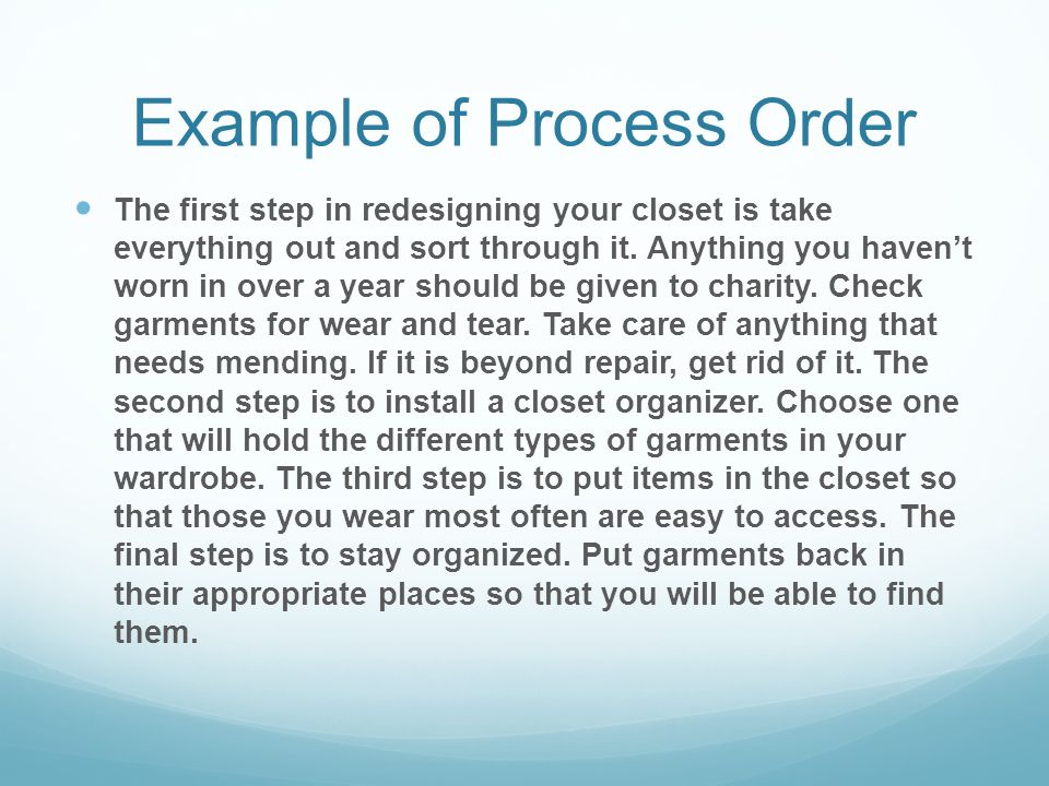 Example of Process Order