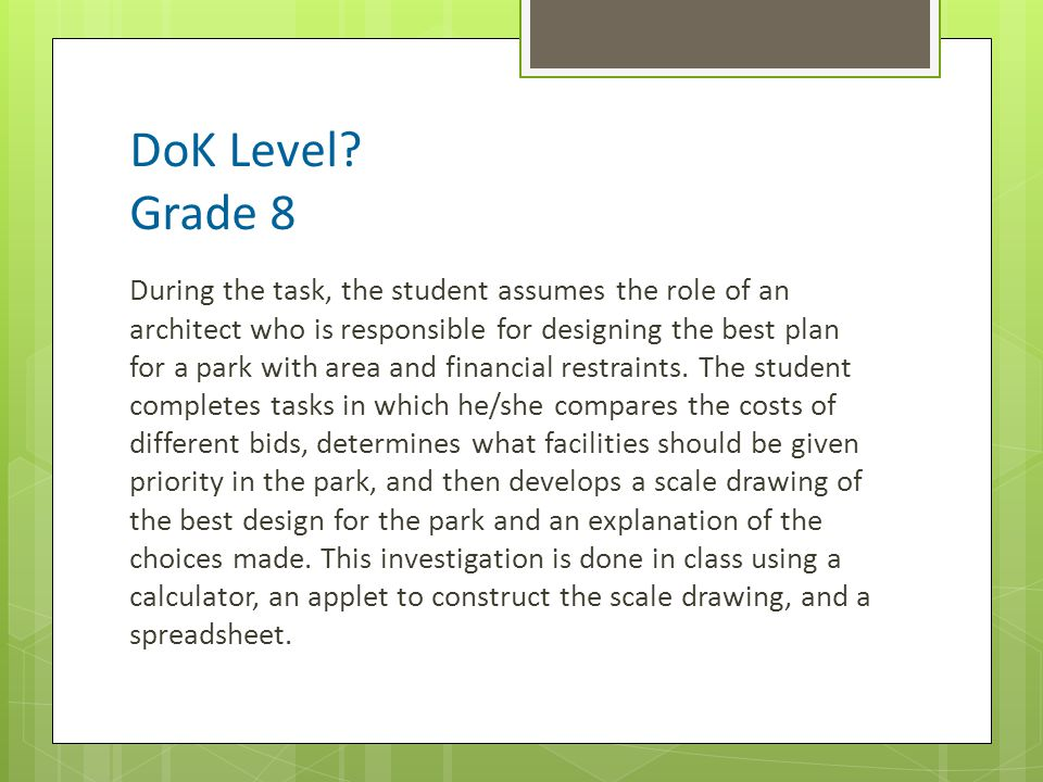 DoK Level Grade 8