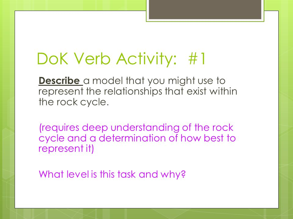 DoK Verb Activity: #1