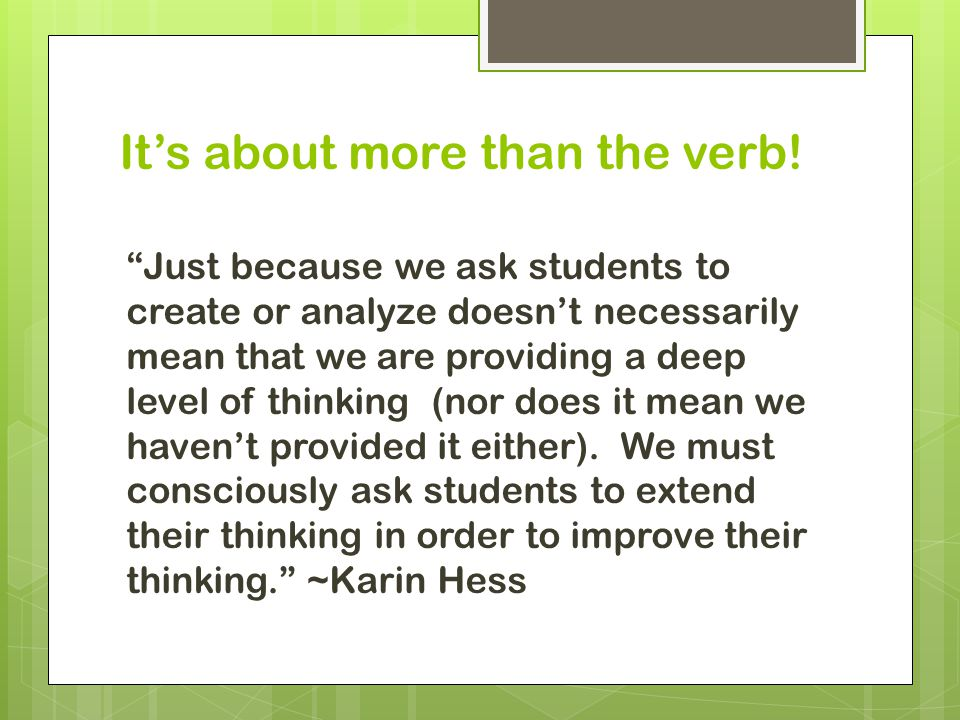 It's about more than the verb!