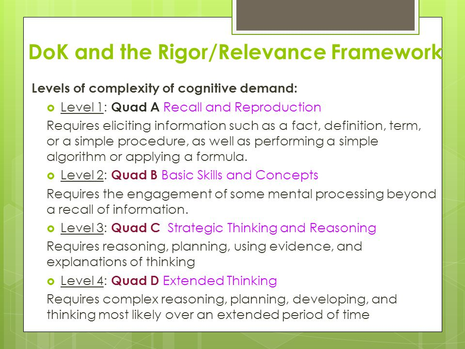 DoK and the Rigor/Relevance Framework