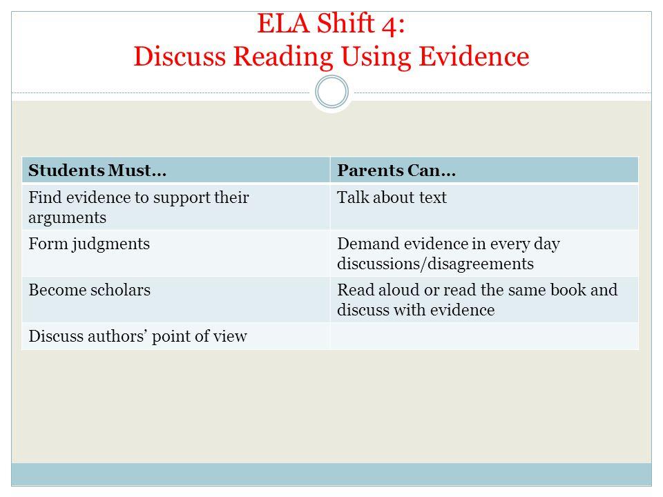 ELA Shift 4: Discuss Reading Using Evidence